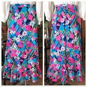 VTG Psychedelic Floral Maxi Skirt